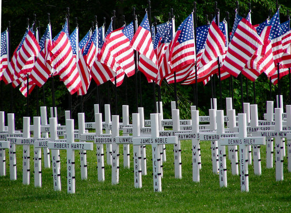 Memorial Day--Flags and Crosses